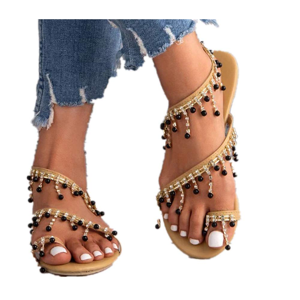 Women's Beaded Flat Sandals,Bohemia Summer Toe Ring Pearl Flat Sandals Wedding Shoes Black