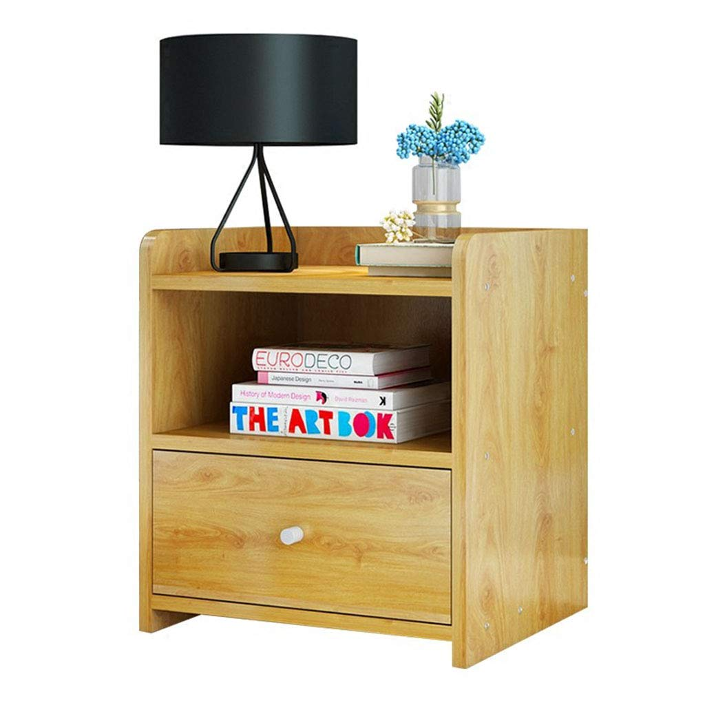 Bedside table Night Table Bedroom Storage Cabinet Living Room Bookcase Solid Wood Floor Cabinet Two Drawers Bedroom Furniture (Color : Wood Color, Size : 322640cm)