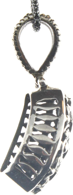Sterling Silver Multigemstone Pendant on 18 Inch Oxidized Popcorn Chain