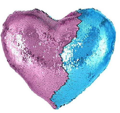 Reversible Pink Hearts (Haperlare 13 x 15 inch Heart Shaped Pillow Cover with Insert Heart Sequin Pillow Blue Mermaid Sequin Pillow Two-Color Reversible Sequin Pillow Sequin Cushion Blue and Pink)