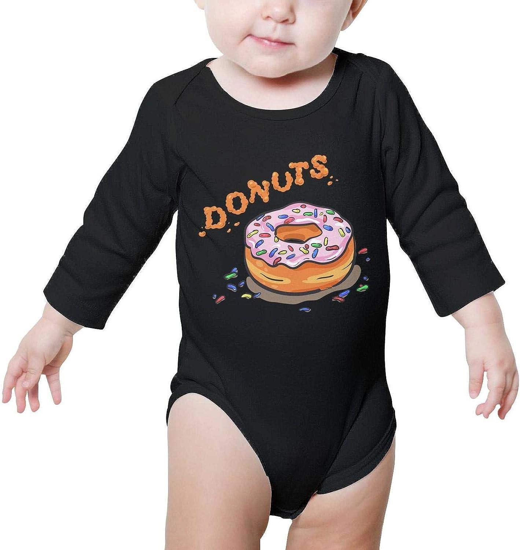 Voslin bun Donut Party Decorations Baby boy Black Bodysuit Organic Cotton Long Sleeve Unisex