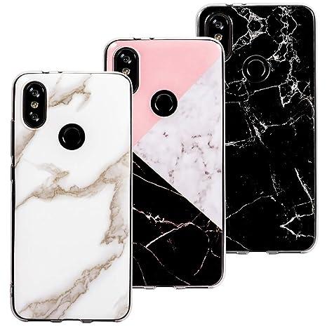 3 x Fundas Mármol para Xiaomi Mi A2, Wanxideng Carcasa de Silicona Opaco Liso - Funda Ligero Delgado Suave - Marble Matt Case Cover [ Negro + Blanco + ...