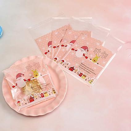 57ce1132b ecmqs bolsa Snack OPP – 100pcs – feliz Navidad – Galletas dulces  autoadhesiva, autoadhesivo embalaje