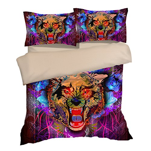 Customized Tiger Colorful Cotton Microfiber 3pc 104''x90'' Bedding Quilt Duvet Cover Sets 2 Pillow Cases King Size by DIY Duvetcover