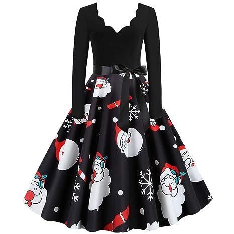 Vestido De Navidad Retro para Mujer SUNNSEAN Vestidos Vintage De ...