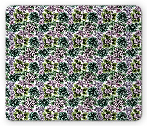 Flowering Violet African (Ambesonne Floral Mouse Pad, Flowering Plants Gardening African Violet Peonies Hydrangea Foliage Illustration, Standard Size Rectangle Non-Slip Rubber Mousepad, Multicolor)