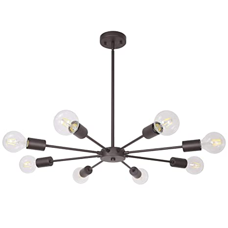 quality design 667bf e4012 Sputnik Pendant Light Oil Rubbed Bronze 8 Lights, Mid Century Modern  Chandelier Industrial Ceiling Light Dining Room Lighting Fixture Hanging UL  ...