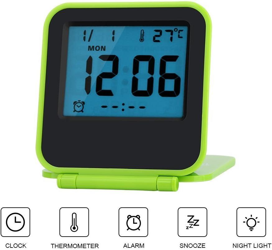 Blue Foldable Alarm Clock Portable Ultra Slim Design Travel Tabletop Digital Alarm Clock with Temperature Calendar Date Week