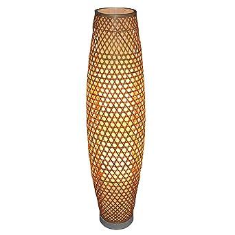 El bambú de mimbre rattan Lámpara de sombra vaso de piso rústico ...
