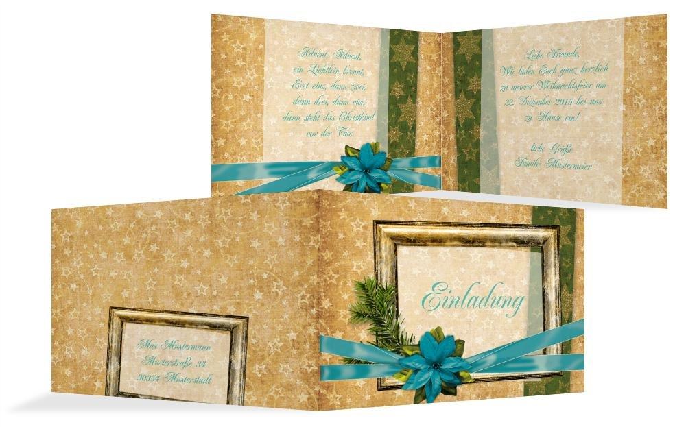 Weihnachtskarten  Weihnachtsgrußkarte Goldenes Geschenk, hochwertige Grußkarte zu Weihnachten inklusive Umschläge   30 Karten (Format  296.00x105.00mm) Farbe  Türkis