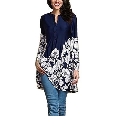 77532a3f378b KEERADS Femmes T-Shirt ÉLéGant Grande Taille Imprimé Floral Col en V Mode Manche  Longue