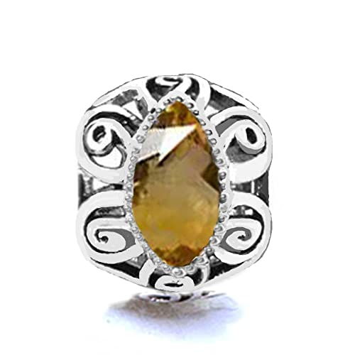 9dae9972fc21e Jovana Sterling Silver Citrine November Birthstone Citrine Charm,Fit  Pandora Bracelet