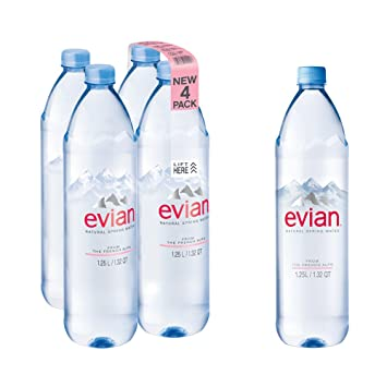 e54cb9b438 evian Natural Spring Water 1.25 Liter, 42.27 Fl Oz 4Count, Naturally  Filtered Spring Water