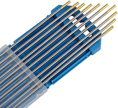 Electrodos de Tungsteno de 10 Piezas Agujas de Tungsteno Aguja de Electrodo de Tungsteno WL-15 1.6 x 175mm Oro