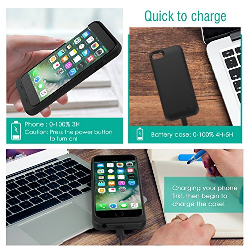 iPhone 7 Plus Battery situation MoKo Maxnon compact 4000mAh Rechargeable External Battery Backup Charger Charging situation Pack ability Bank Cover for iPhone 7 Plus 6s Plus 6 Plus MFI Apple Certified BLACK Battery Charger Cases