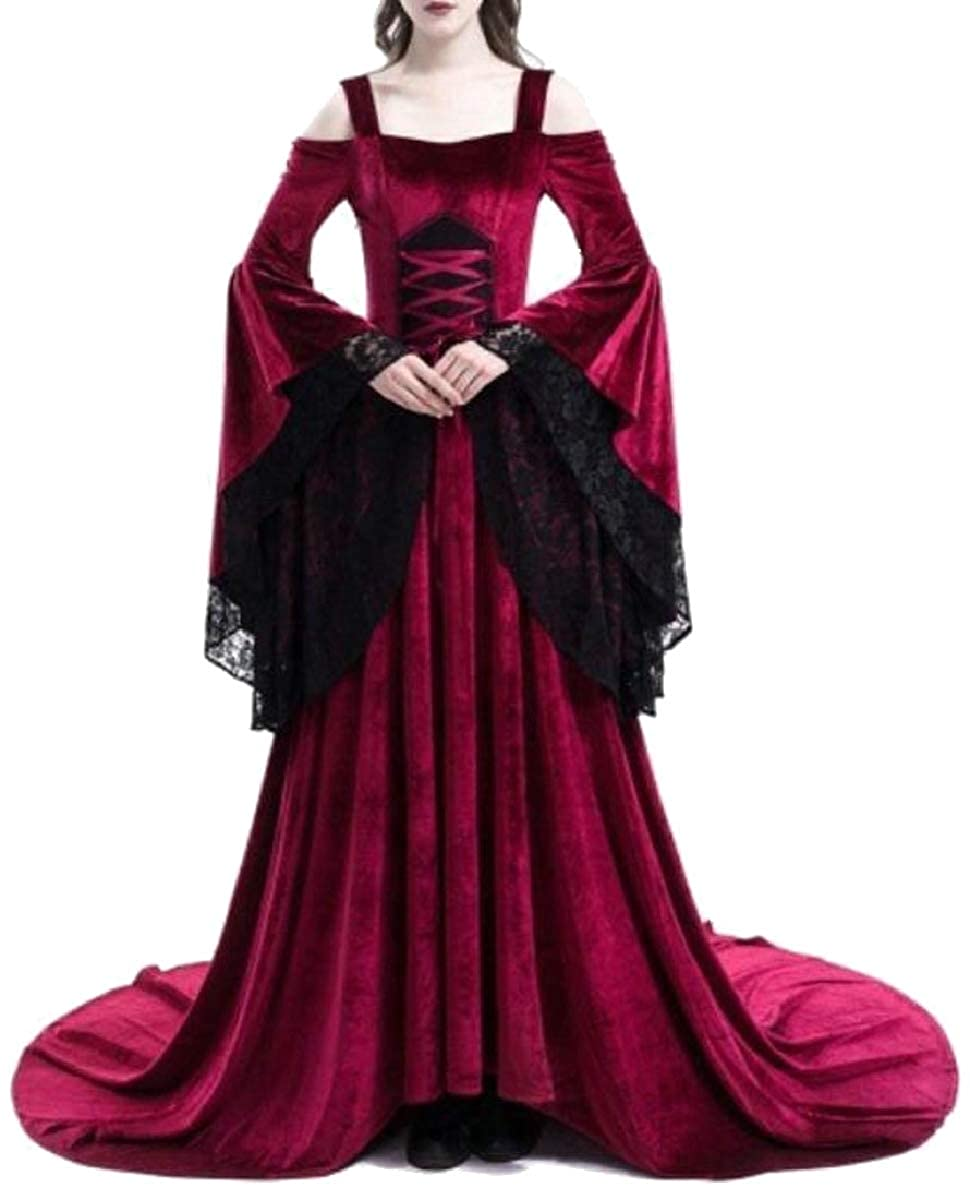 Red ZXFHZSCA Womens Medieval Cold Shoilder Long Sleeve Gothic Victorian Party Dress