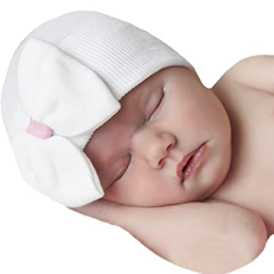 96a288e32f1 Image Unavailable. Image not available for. Color  Melondipity White Big  Bow   Sweet Pink Ribbon Newborn Girl Hospital Baby Hat