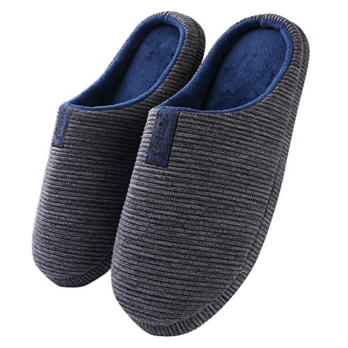 Aerusi Unisex Stripe Plush Cozy Memory Foam Slip On House Bedroom Slipper (Size 46-47 : USA Man Size 13-14/Woman Size 15-16, Slate/Navy - 14 Size Usa