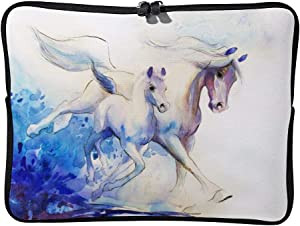 White Watercolor Horses 10 Inch Protective Laptop Sleeve Ultrabook Notebook Carrying Case Compatible with MacBook Pro MacBook Air Tablet Briefcase Bag