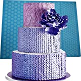 Anyana aie321a Huge Silicone Mat, Repeat Sequins Mini Buttons, Wedding Cake Decorating Tools for Edible Lace Fondant Mold, Bohemian, 40 x 30 cm, Blue