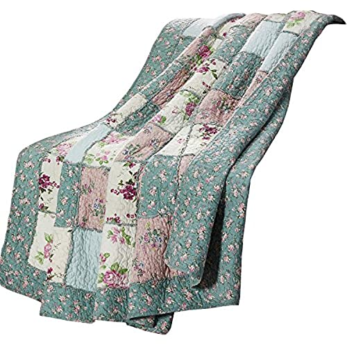 Chezmoi Collection 1 Piece Garden Floral Vintage Washed 100 Cotton Reversible Patchwork Throw