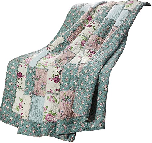 Quilt Floral Cotton Throw - Chezmoi Collection 1-Piece Garden Floral Vintage Washed 100%-Cotton Reversible Patchwork Throw