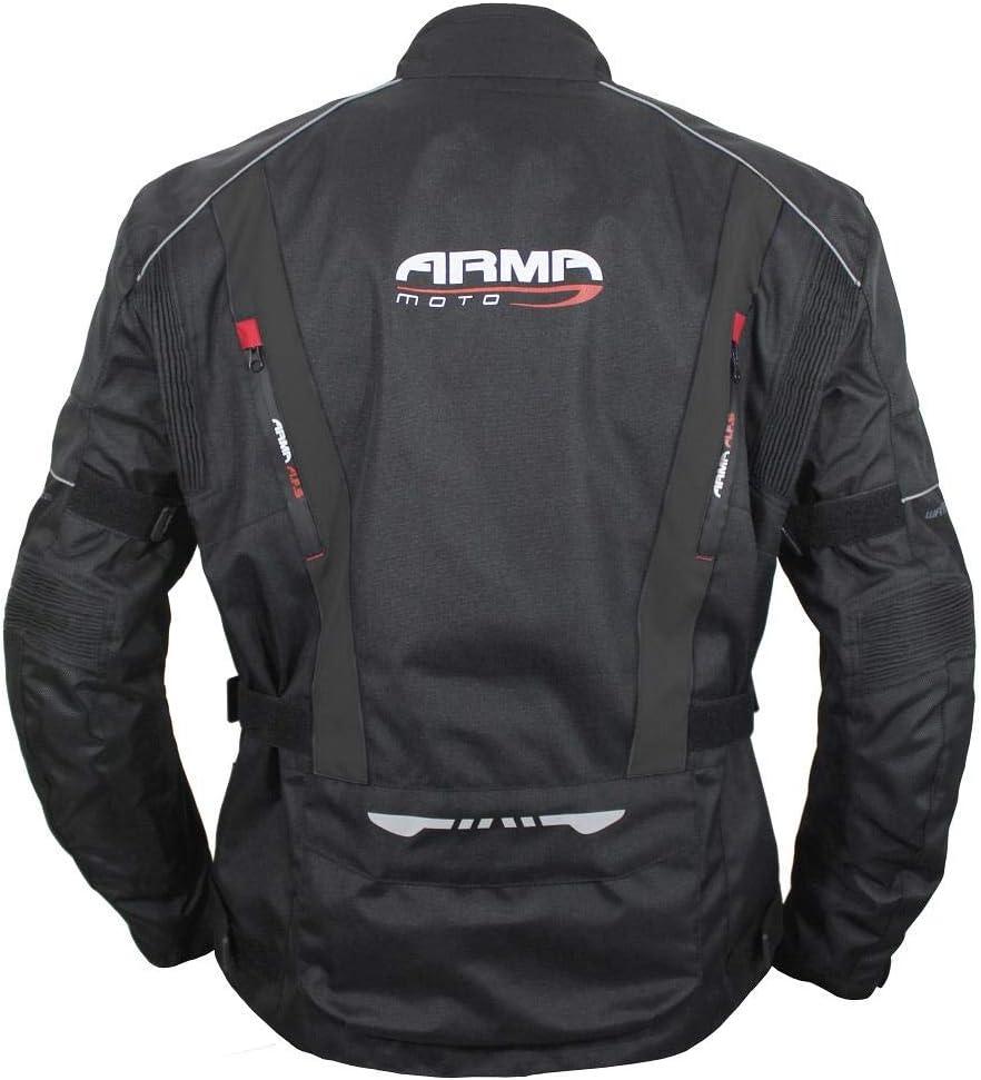 ARMR Moto Kiso 3 Textile Waterproof Motorcycle Motorbike Jacket Black 5XL