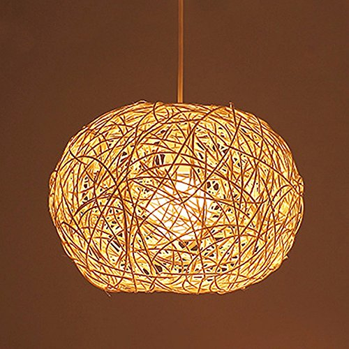 XHOPOS Home Pendant Light Shade Industrial Hanging Ceiling Lamp Chandelier Rattan Braided Cage 40X35cm for Living Room Restaurant Bedroom Lighting