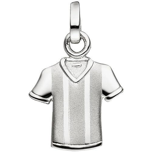 Camiseta de fútbol Camiseta T Pantalón colgante de plata 925 parcialmente mate plata colgante
