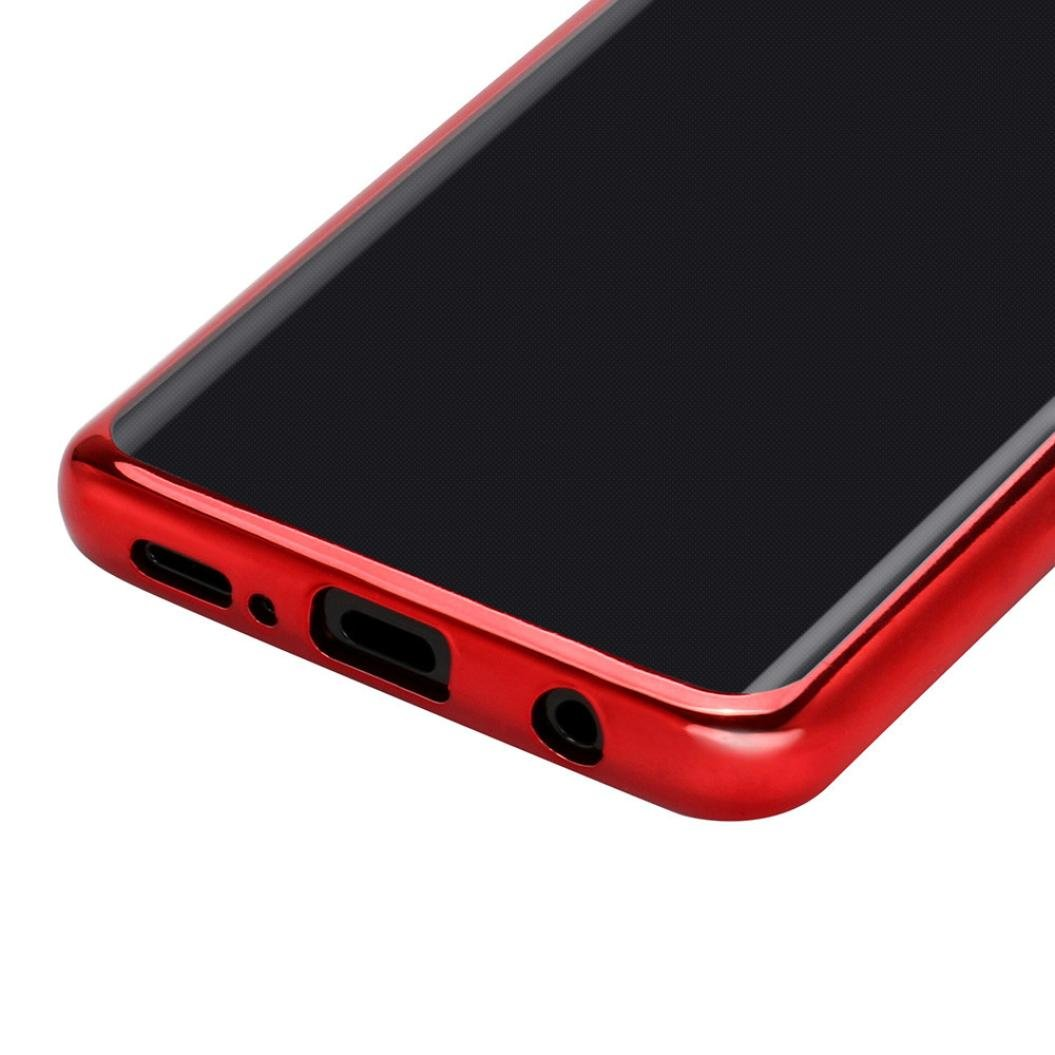 6.2Inch Clear Silicone TPU Plating Case Slim Shock Cover For Samsung Galaxy S9 Plus (Red) by FreshZone (Image #4)