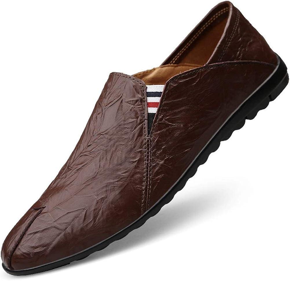 YLH Auto Mocassins for homme Souliers simple Slip-on Parti en cuir véritable faible Haut légère, mince Vegan plat gaufrée bout rond. Reddish Brown