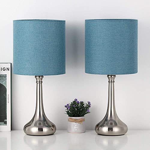 RZChome Blue Light Table Lamps Modern Table Lamps – Bedside Desk Lamp Set of 2, Small Nightstand Lamps for Bedroom, Living Room, Office with Fabric Lamp Shade and Metal Base