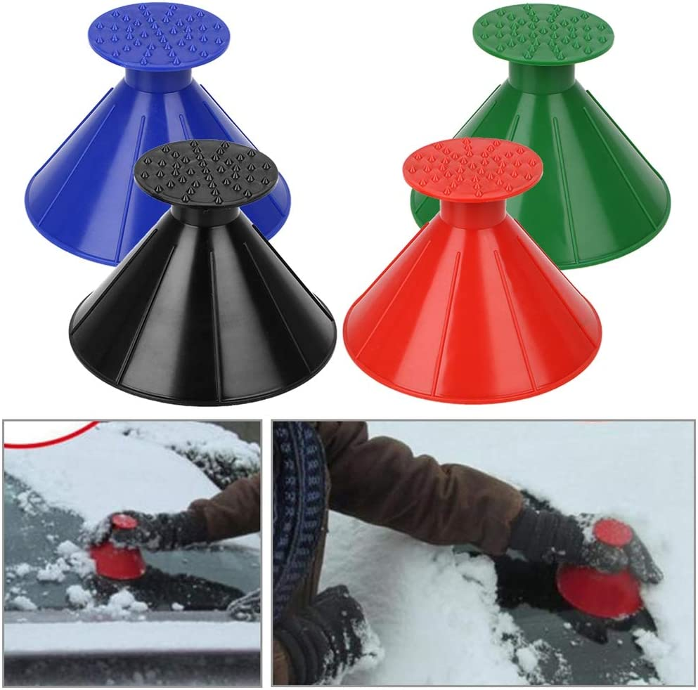 ISAKEN Ice Scraper Funnel Shape for Car Plastic Car Windshield Snow Scraper Funnel Car Snow Removal Tool 2 Packs Magical Ice Scraper Round Car Window Windshield Cone