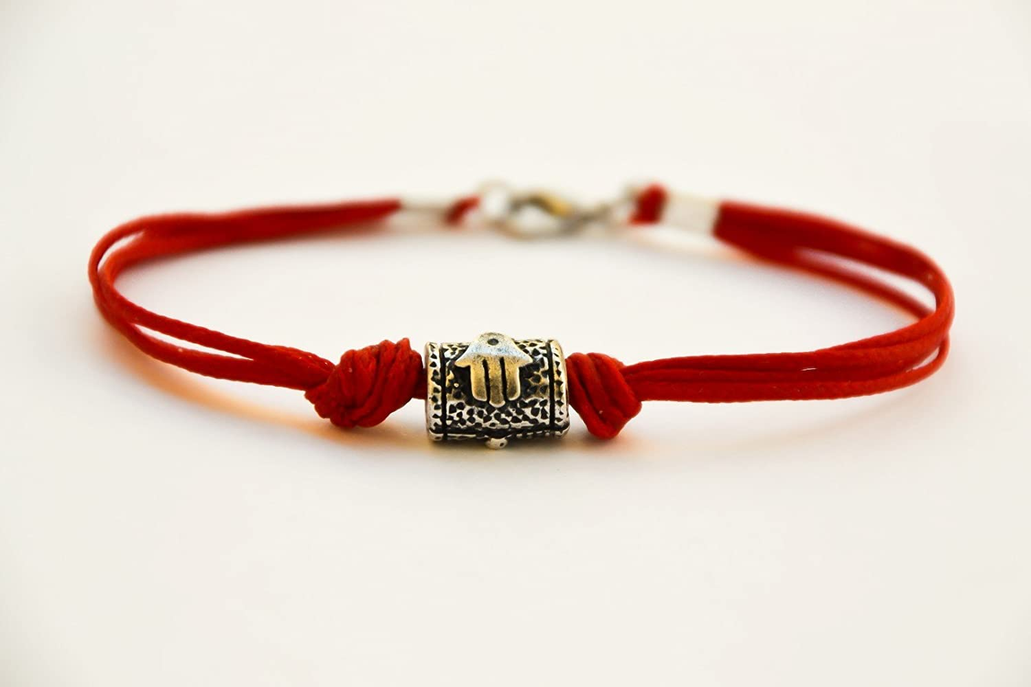 Hamsa bracelet for men, men's bracelet with a silver tube bead charm and a red cord, against the evil eye, red bracelet for men, lucky charm