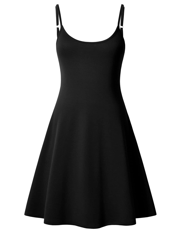 Black Perfashion Women's Sleeveless Adjustable Strappy Summer Beach Swing Midi Dress Spaghetti Strap Sun Dress