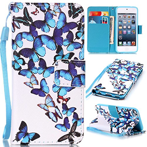 iPod Touch 6 Cases, iPod Touch 5 Wallet Case,Beimu [Card Slots] [Wristlet Strap] [Money Pocket] PU Leather Flip Wallet Case with ID&Credit Card Holder for iPod Touch 6th/5th - Samsung Phone Ipod