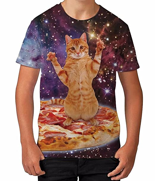 fae6f1a7ab Amazon.com  Kids Graphic T Shirt Boys Top Pizza Cat in Space Youth Tee Shirt   Clothing