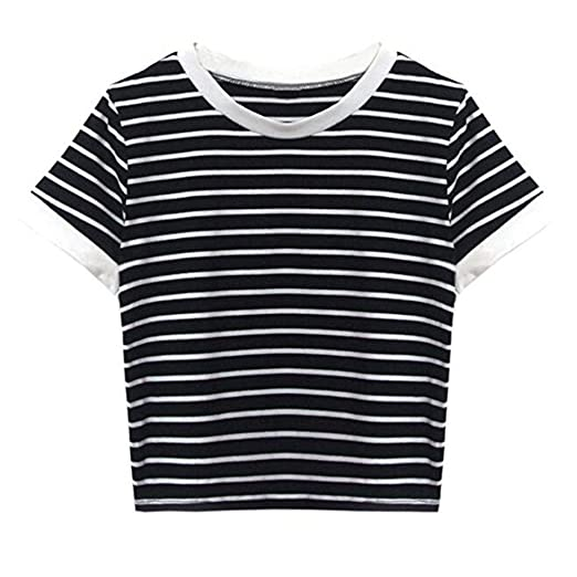 e44f9f657e438 Amazon.com: Women Teen Girls Striped Cute Crop Top Belly Shirt ...