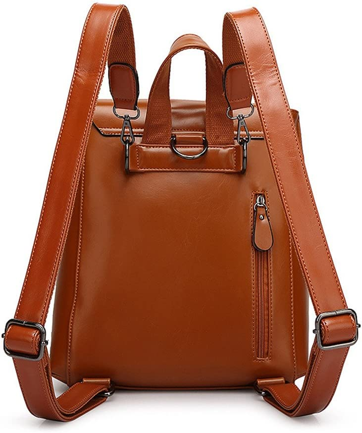 Color : Brown FeliciaJuan Womens Backpack Wax PU Daypack Waterproof Zipper Casual Travel Shopping