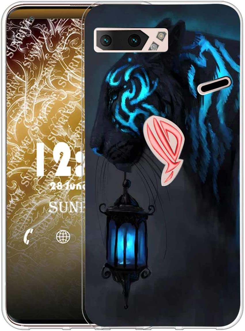 Sunrive Funda Compatible con ASUS ROG Phone 2, Silicona Slim Fit Gel Transparente Carcasa Case Bumper de Impactos y Anti-Arañazos Espalda Cover(Q Tigre 4)