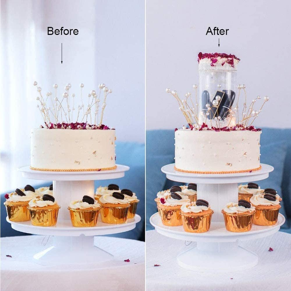 Surprise Birthday Cake Stand 2 Tier Pull-Ring Popping Cake Stand Give him//her a Pleasant Surprise