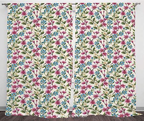 (Satin Window Drapes Curtains [ Flower Decor,Shabby Chic Floral Buds Leaves Ivy Like Garden Decor Design Art Print,Pink and Blue ] Window Curtain Window Drapes for Living Room Bedroom Dorm Room Classro)