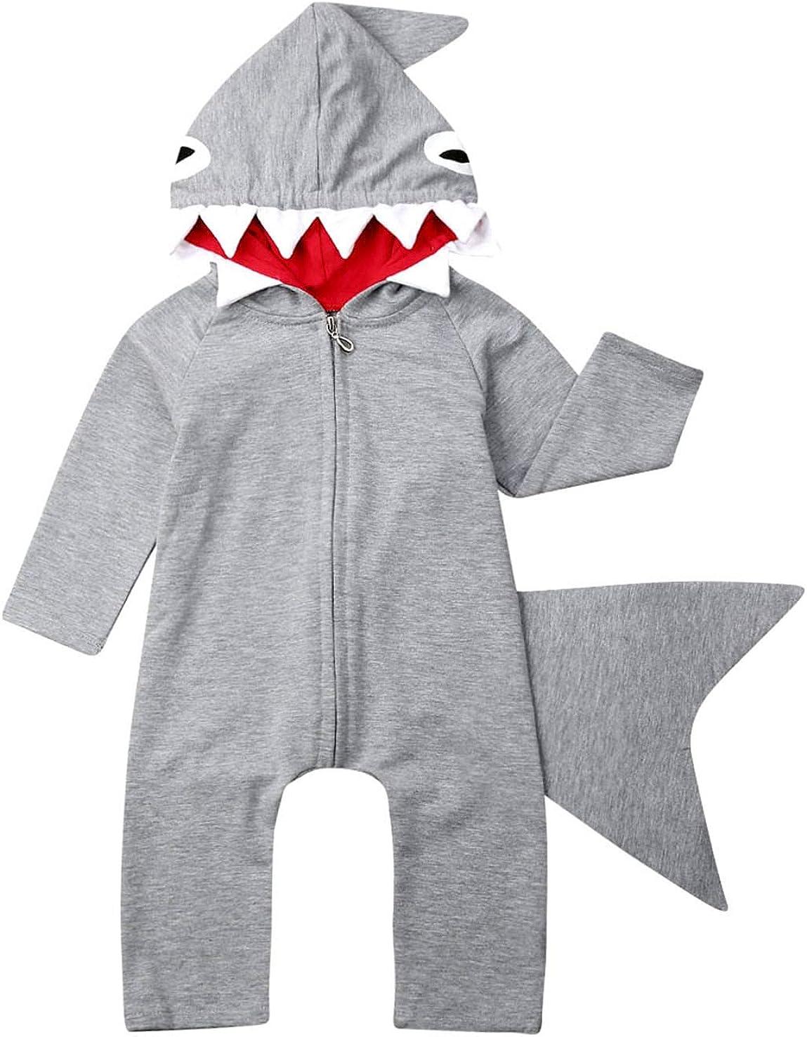 SUNBIBE Newborn Baby Boys Girls Solid Dinosaur Hoodie Rompers Winter with Pocket Warm Jumpsuit