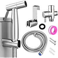 Stainless Steel Sprayer Handheld Bidet Set, Bidet Faucet Spray for Bathroom Sink or Toilet - with T-Adapter Valve Hose…