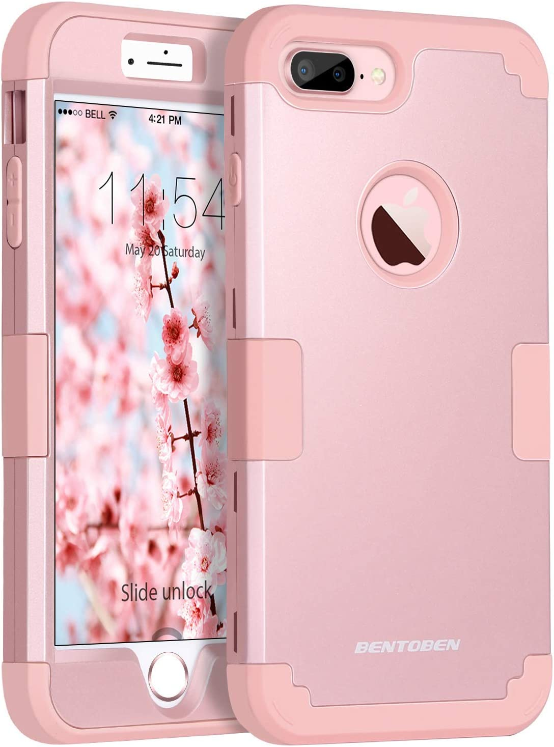 BENTOBEN Case for iPhone 8 Plus / 7 Plus 3 in 1 Heavy Duty Slim Shockproof Drop Protection Hybrid Hard PC Covers Soft Rubber Bumper Protective Case for iPhone 8 Plus / 7 Plus Rose Gold