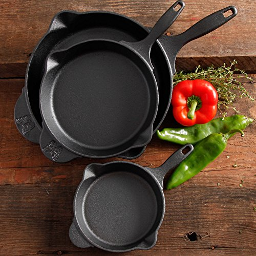 Pioneer Woman Timeless 3 Piece Pre-Seasoned Cast Iron Skillet Cookware Oven Safe