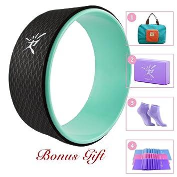 Juego de rueda para Yoga para Yoga Starter incluye Yoga Dharma rueda, Basic Manual, resistencia banda, bloque de Yoga, Yoga Cinturón y plegable práctica bolsa de 33x 13cm, agua