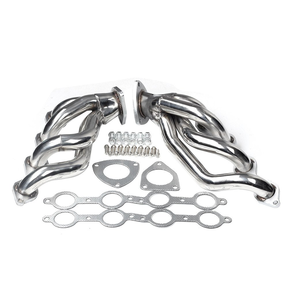 Exhaust Manifold Header For 2000-2006 Chevy GMC Silverado Sierra Tahoe 4.8 5.3 V8 (Outlet Size: 2.5', Primary Tube Size: 1.75') Primary Tube Size: 1.75) blackhorseracing