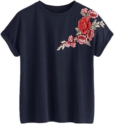 BOLAWOO T Shirt Mujer Verano Manga Corta Cuello Redondo ...