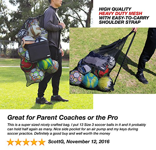 Fitdom Extra Large Heavy Duty Mesh Bag. Best for Soccer Ball, Water Sports, Beach Cloth, Swimming Gears. Adjustable Shoulder Strap Made to Fit Adults and Kids. Secure Side Pocket for Personal Items